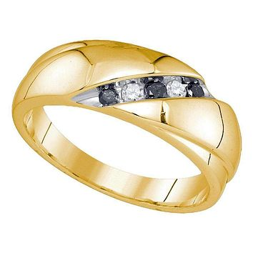 10kt Yellow Gold Men's Round Black Color Enhanced Diamond Wedding Band Ring 1/5 Cttw - FREE Shipping (US/CAN)
