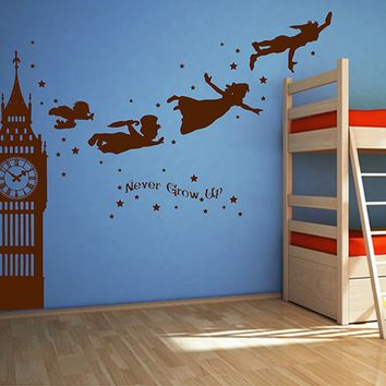 ik2803 Wall Decal Sticker Peter Pan fairy tale of Big Ben room children's bedroom