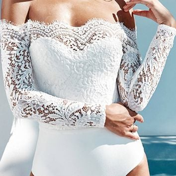 I'm Into It Sheer Lace Long Sleeve Off The Shoulder Bodysuit Top - 2 Colors Available