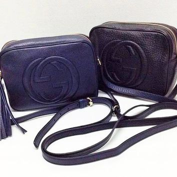 GUCCI Hot Selling Fashion Lady Big Double G tassels Bag Dark blue