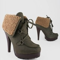 leatherette lace up bootie $32.70 in BLACK OLIVE TAN - New Shoes | GoJane.com