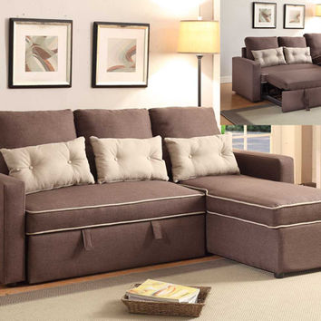 2 pc sarah collection 2 tone dark brown faux linen fabric upholstered sectional sofa with sleeper