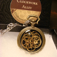 Steampunk Clockwork  Pocket Watch Pendant Necklace with Upcycled Watch Parts and Gears  (1812)