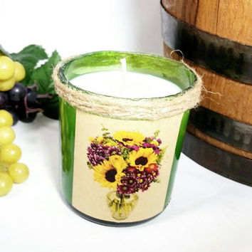 Recycled Wine Bottle Soy Candle Floral Bouquet Scent/Green Vino Winery Bottle/Upcycled Glass