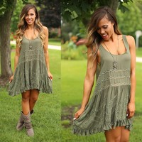 Trapeze Slip Dress in Olive - Free People