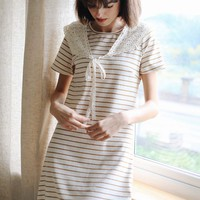 Sail Away Dress (Brown Stripe) - Miss Patina