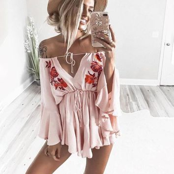 Abigail Floral Decor Off-the-Shoulder Romper
