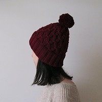 Hand Knitted Hat in Burgundy - Beanie with Pom Pom - Seamless - Wool Blend