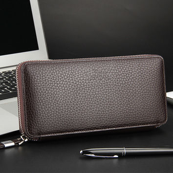 YOUYOU MOUSE Casual PU Leather Men Wallet Korean Litchi Grain Money Wallets Long Business Zip Phone Bag Coin Packet Card Purse