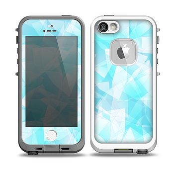 The Vector Abstract Shaped Blue Overlay Skin for the iPhone 5-5s fre LifeProof Case