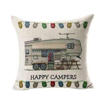 Colorful Pillow Case Waist Throw Happy Campers Cushion Cover Linen Pillowcases For Sofa Seat Home Decor #BF