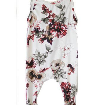 Newborn Infant Baby Clothes Girl Sleeveless Floral Romper Jumpsuit Playsuit Outfit Summer Girls Clothing Cotton