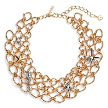 Oscar de la Renta Fishnet Starfish Bib Necklace | Nordstrom