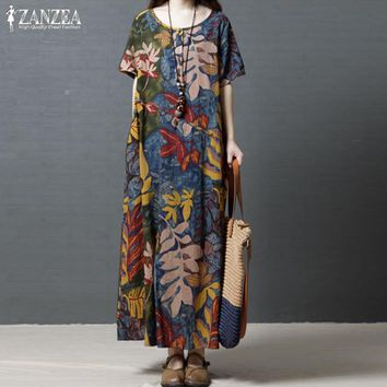 5db521ef8a9b Vintage Casual Maxi Dress Women Sundress 2019 ZANZEA Kaftan Print Linen Dress  Female Short Sleeve Summer