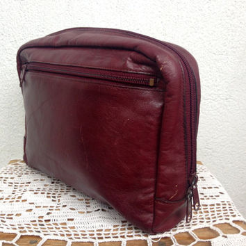 Cosmetic Pouch, Leather Dopp Kit, Groomsman Gift Ideas, Toiletry Bag, Oxblood Clutch, Travel Organizer, 70s Shaving Set, Fathers Day Gift
