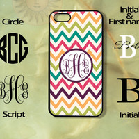 Monogram Colorful Chevron Pattern-iPhone 5, 5s, 5c, 4s, 4 case, Ipod touch 5, Samsung GS3, GS4 case-Silicone Rubber or Hard Plas