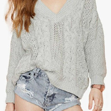 Gray Flax Patterns V-Neck Long Sleeve Sweater