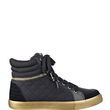 Genio High-Top Gold Zipper Sneakers | GUESS.com