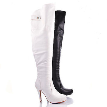 Salty1 Brown Pu by DbDk, Faux Leather Women stiletto heel over knee Thigh High Zipper Boots