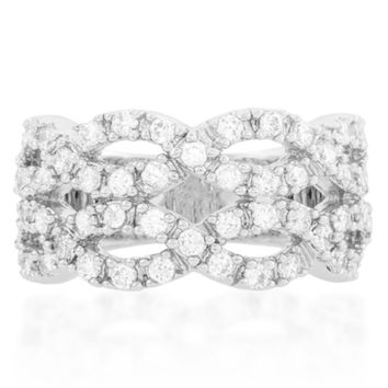 Penn Braided 5 Carat Cubic Zirconia Cocktail Ring | 5ct | Cubic Zirconia | Silver