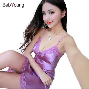 BabYoung Women Pajamas Nightgowns V-neck Nightie Satin Silk Sleepwear Sexy Spaghetti Pijama Halter Strap Nightdress Lingeries
