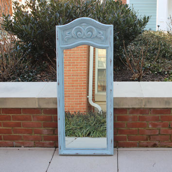 Large vertical ornate light blue distressed wood mirror - Blue decor, blue mirror, tall mirror, painted mirror