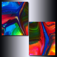 Print Set: 5 x 7 Multi Coloured Abstract Giclee Reproductions