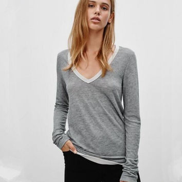 Gray Contrast V-Neck Long Sleeve T-Shirt