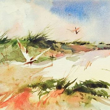 Seagulls & Sand Dunes Watercolor Painting