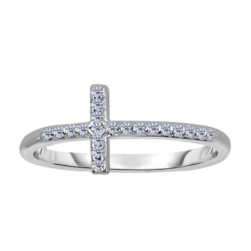 14K White Gold Diamond Sideways Cross Ring - 0.12Ct
