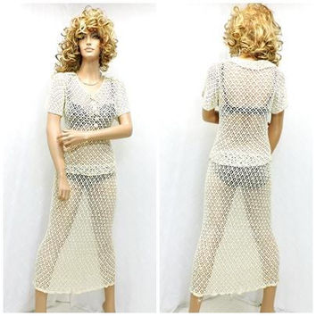 Crocheted 60s dress / size S / M 5 / 7 / handmade cream crocheted / knit dress / 2 piece vintage1960s lace dress / boho crocheted dress
