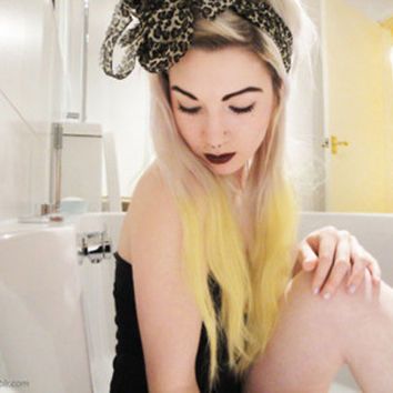 YELLOW Tip Dip-Dyed Ombre Hair Extensions // Clip-In // HUMAN Hair