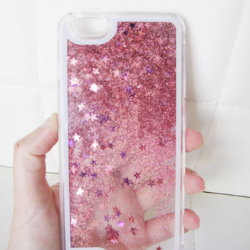 iPhone 6 Plus case liquid glitter clear hipster star iridescent geometric sequins floating liquid waterfall quicksand phone case US seller