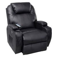 Massage Recliner Sofa Chair Deluxe Ergonomic Lounge Heated w/ Control Black New
