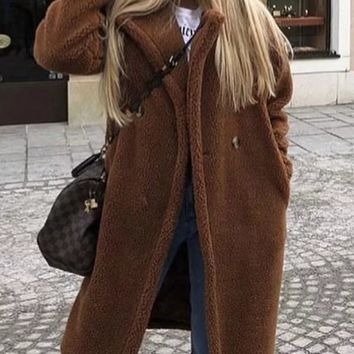 New Camel Fur Pockets Buttons Turndown Collar Long Sleeve Casual Coat