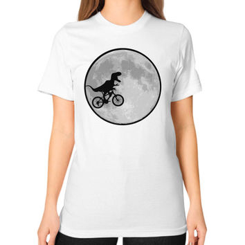 Dinosaur bike and MOON Unisex T-Shirt (on woman)