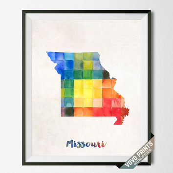 Missouri, Map, Print, Jefferson City, USA, Poster, Watercolor, Painting, Home Town, Dorm, Art, States, America, Decor, Watercolour [NO 25]