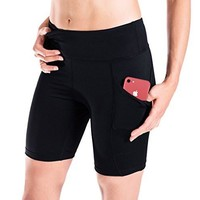 Women's Workout Shorts Sun Protection Chafing Side Pocket Compression Gym Shorts Bike Shorts