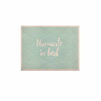 "KESS Original ""Namaste In Bed Teal"" Blue White KESS Naturals Canvas (Frame not Included)"