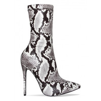 Jadah Black and White Snake Pointed Toe Ankle Boots : Simmi Shoes