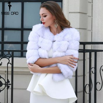 Missord 2018 Fashion Fur Coat Slim Patchwork Fox  Outerwear Solid Color Female  Sweater FT8711