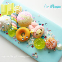 unique iphone5 cover , Sanrio My Melody baby blue iphone4 case in handmade , Ice cream with Donuts , miniature fake food iphone4/4S cover