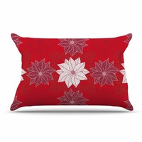 """julia grifol """"Christmas Time"""" Red White Pattern Floral Vector Digital Pillow Case"""
