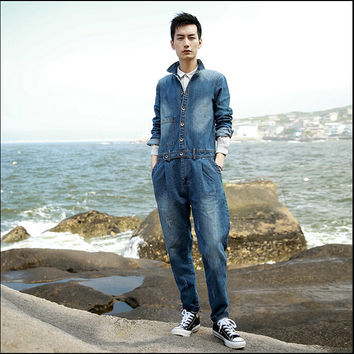 New brand fashion casual fall denim pants men casual work clothes to do the old denim coveralls