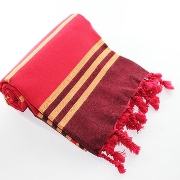 Anatolia | Red Beach Towel | Yellow | Dark Red | Peshtemal | Turkish Beach Towel | Red Beach Blanket | Beach Towel | Turkish Towel | Trendy
