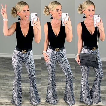 Never Grow Up Snake Print Flare Pants