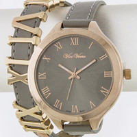 Gray and Gold  Faux Leather Wrap Watch