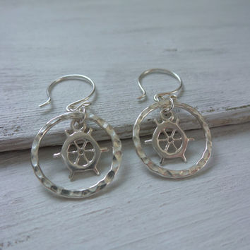 Ship Wheel Earrings by SBC, Sterling Silver Ship Wheels, Hammered Sterling Silver Rings, Sailor Jewelry, Ship Wheel Earrings, Lost at Sea