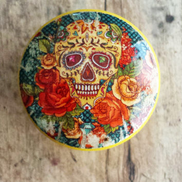 Sugar Skull and Flowers Knob Drawer Pulls, Birch Wood, Handmade Cabinet Pull Handles, Warm Colors, Skeleton Dresser Knobs, Made to Order