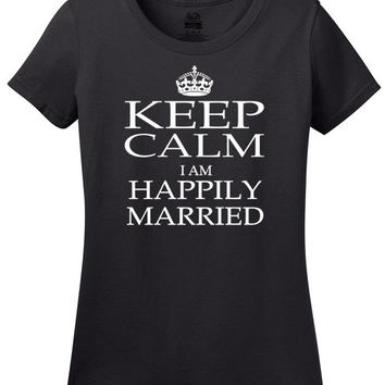 Keep Calm I Am Happily Married T-Shirt, love, marriage, valentines day, weddings, bride, groom, engaged, wedding party, wedding gift